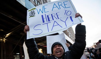 Immigrants and their supporters protest against recent Immigration and Customs Enforcement raids, New York City, February 16, 2017.