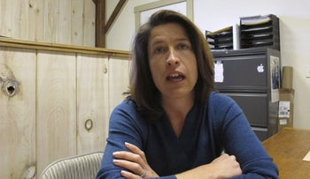 Carina Driscoll, the step-daughter of U.S. Sen. Bernie Sanders, talks about running for mayor of Burlington from her office at Vermont Woodworking School, which she founded, in Fairfax, Vt., Driscoll, a former city council member and ex-state legislator, announced Monday, Dec. 4, 2017, that she's running as an independent
