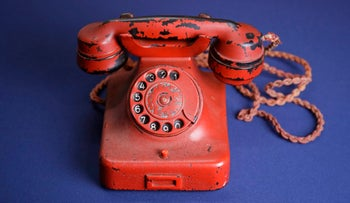 Adolf Hitler's personal traveling telephone is displayed at Alexander Historical Auctions in Chesapeake City, Maryland, February 17, 2017.