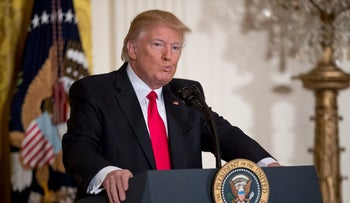 President Donald Trump pauses while speaking during a news conference in the East Room of the White House in Washington,  Feb. 16, 2017