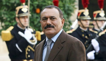 This file photo taken on November 18, 2006 shows Yemeni ex-president Ali Abdullah Saleh arriving at the Elysee Palace in Paris to meet with former French president Jacques Chirac