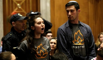 IfNotNow members protest during a Senate hearing on David Friedman's nomination to be U.S. envoy to Israel, Washington, February 16, 2017.