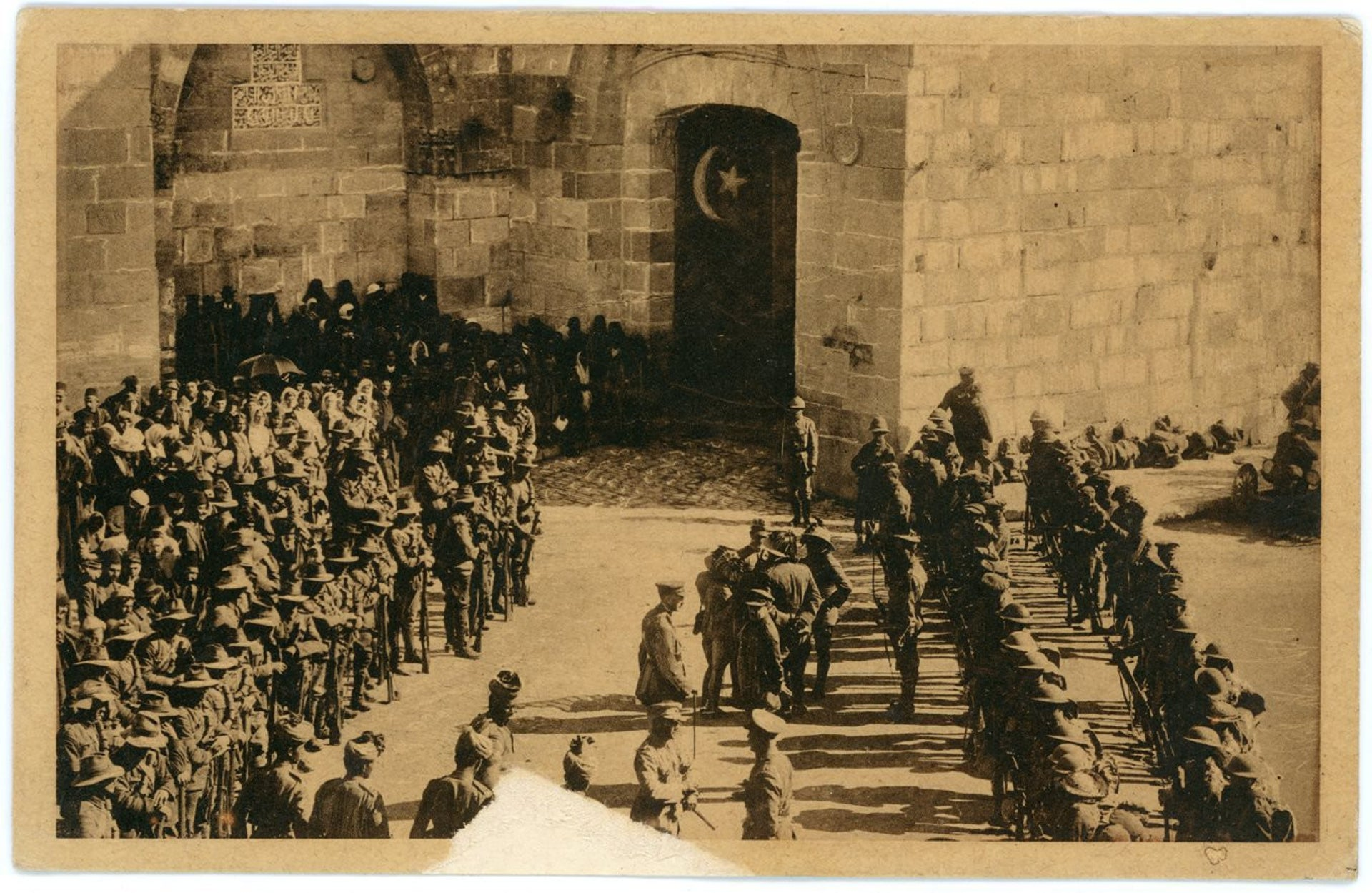 From the exhibition: A photograph of General Allenby's enters Jerusalem through Jaffa Gate.