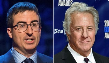 In this combination photo, John Oliver appears at the Stand Up for Heroes event in New York on Feb. 28, 2015,, left, and actor  Dustin Hoffman attends the 27th annual Independent Film Project's Gotham Awards in New York on Nov. 27, 2017