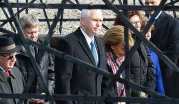 Israeli Dachau survivor Abba Naor Israel accompanies  U.S. Vice President Michael Richard Pence and chairwoman of the Jewish Community in Munich, Charlotte Knobloch on a visit to the concentration camp site near Munich on February 19, 2017.