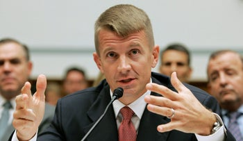 Blackwater USA Chief Executive Erik Prince testifying before the House Oversight and Government Reform Committee on security contracting in Iraq and Afghanistan, Washington, October 2007.