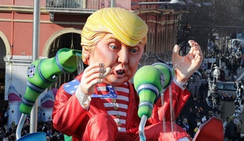 A float with a giant figure of U.S. President Donald Trump is paraded at a festival in Nice, France on February 19, 2017.