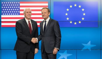 U.S. Vice President Mike Pence, left, and Donald Tusk, president of the European Union (EU), pose for photograph ahead of a meeting at the Europa building in Brussels, Belgium, on Monday, Feb. 20, 2017.