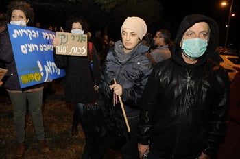 Demonstrators at a rally protesting against air pollution in Haifa, November 2016.