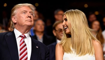 U.S. President Donald Trump and his daughter Ivanka Trump at the RNC in Ohio on July 20, 2016.