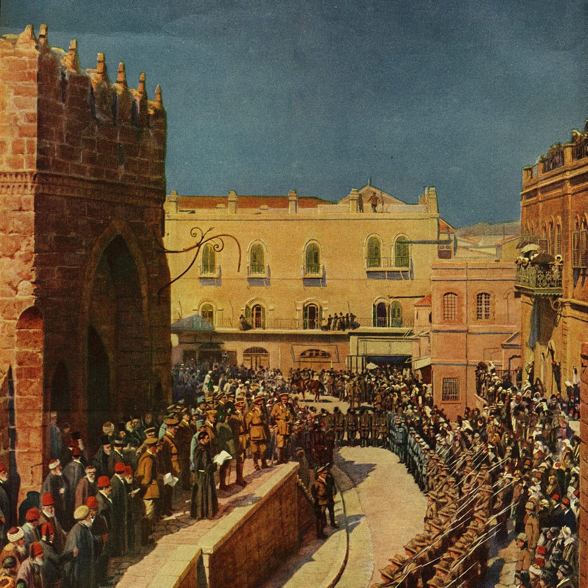 A painting of the declaration of the conquer of Jerusalem by the British forces.