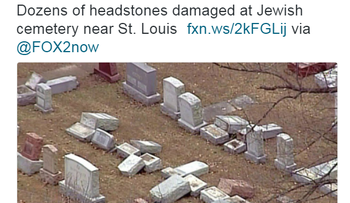 Screenshot of a Fox News tweet with images of the vandalized Jewish cemetery.