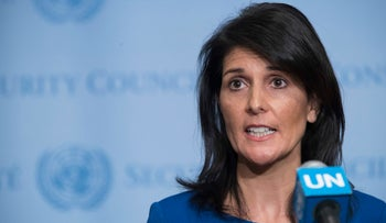 United States Ambassador to the United Nations Nikki Haley speaks to reporters after a Security Council meeting on the situation in the Middle East, Thursday, Feb. 16, 2017 at UN headquarters. The United Nations and the Arab League on Thursday issued a joint statement in support of the establishment of a Palestinian state.