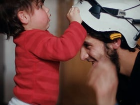 """Screen grab from """"The White Helmets,"""" a film distributed by Netflix and nominated for an Academy Award in the short documentary category."""