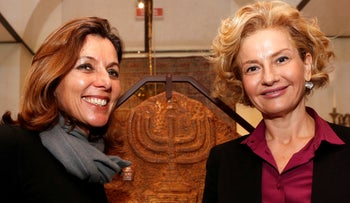 Vatican Museums Director Barbara Jatta (L) and Head of Rome's Jewish Museum Alessandra Di Castro (R) pose during a news conference in Rome, Italy February 20, 2017.