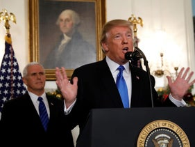 Trump announces that the United States recognizes Jerusalem as the capital of Israel and will move its embassy there, at the White House in Washington, December 6, 2017.