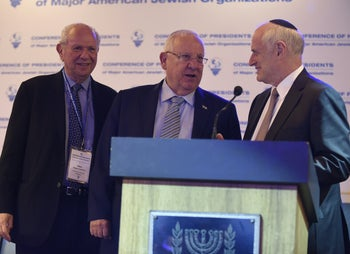 President Rivlin with Conference of Presidents chairman Stephen Greenberg and Executive Vice Chairman/CEO Malcolm Hoenlein.