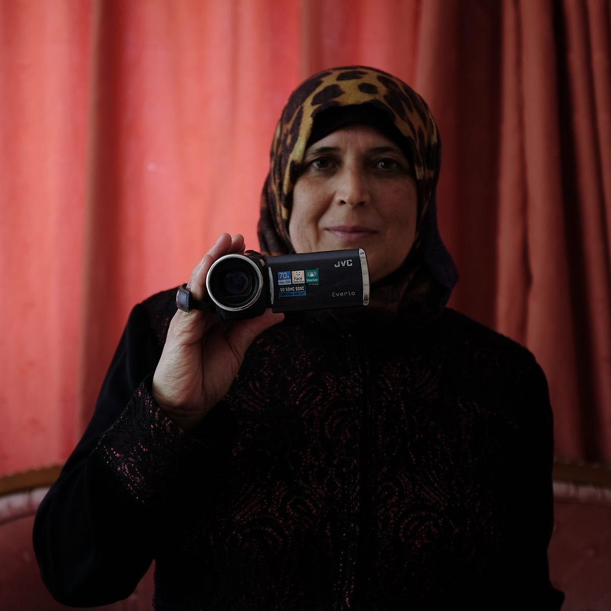 """Rima Abu Ayesha, who volunteers for the human rights organization B'Tselem. Her image is in """"50 Years"""" at the Jaffa Art Salon."""