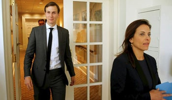 White House senior advisor Jared Kushner and U.S. Deputy National Security Advisor for Strategy Dina Powell walk out to attend a joint statement by U.S. President Donald Trump and Singapore?s Prime Minister Lee Hsien Loong in the Rose Garden at the White House in Washington, U.S. October 23, 2017