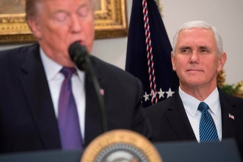 U.S. President Donald Trump and U.S. Vice President Mike Pence in Washington, December 7, 2017