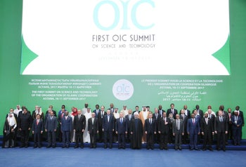 Leaders and representatives of the Organization of Islamic Cooperation member states pose for a group photo during the Kazakhstan Summit summit, in Astana, Kazakhstan September 10, 2017.