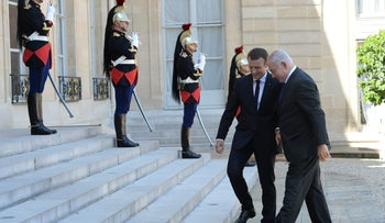 Netanyahu and Macron in Paris at the Elysee Palace, July, 2017.