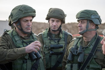 IDF commanders at the site of the destroyed attack tunnel, December 10, 2017.