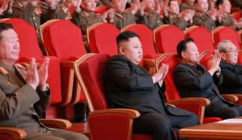 North Korean leader Kim Jong Un watches a performance given with splendor at the People's Theatre on Wednesday to mark the 70th anniversary of the founding of the State Merited Chorus in this photo released by North Korea's Korean Central News Agency (KCNA) in Pyongyang on February 23, 2017.