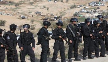 Police deployed at the scene of deadly confrontation in Umm al-Hiran in January 2017.