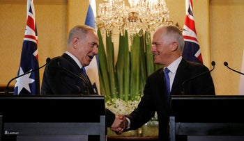 Prime Minister Benjamin Netanyahu and his Australian counterpart Malcolm Turnbull shake hands during their joint news conference in Sydney, Australia, February 22, 2017.
