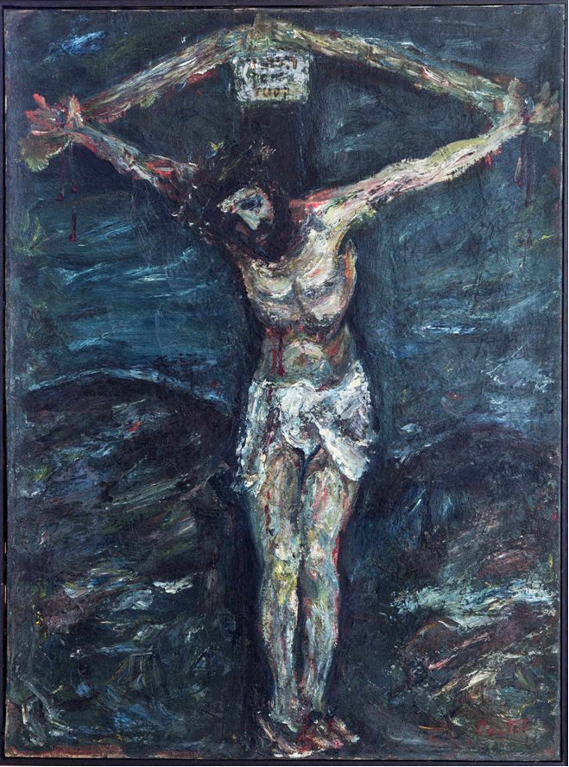A work by Moshe Castel depicting Jesus on the cross.