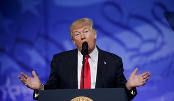 U.S. President Donald Trump addresses the American Conservative Union's annual Conservative Political Action Conference (CPAC) in National Harbor, Maryland. U.S., February 24, 2017.