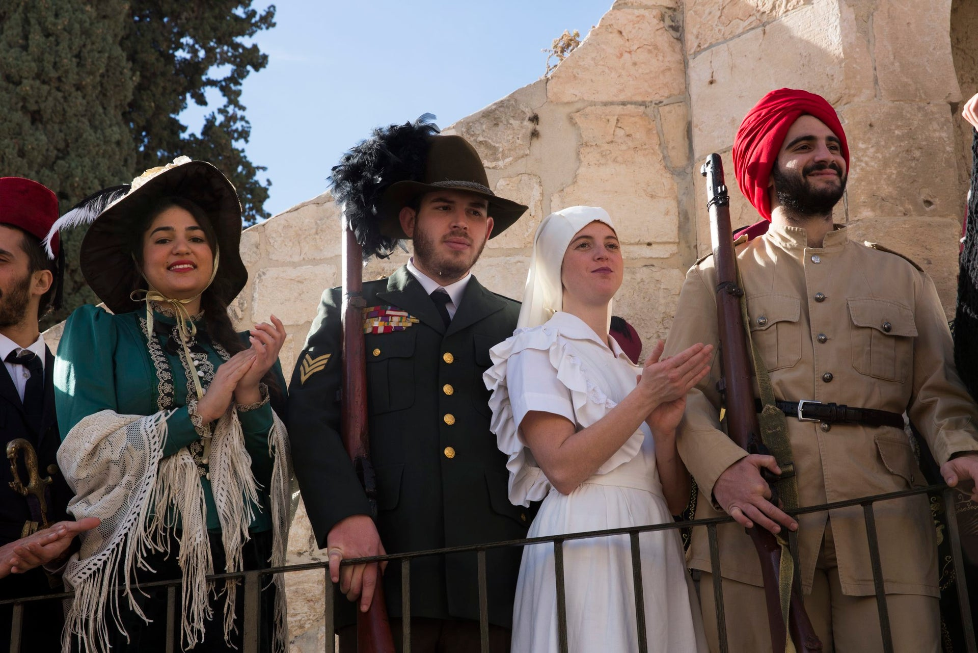 People dressed in costumes participate in a reenactment of General Allenby claiming Jerusalem for the British Empire, December 11, 2017.
