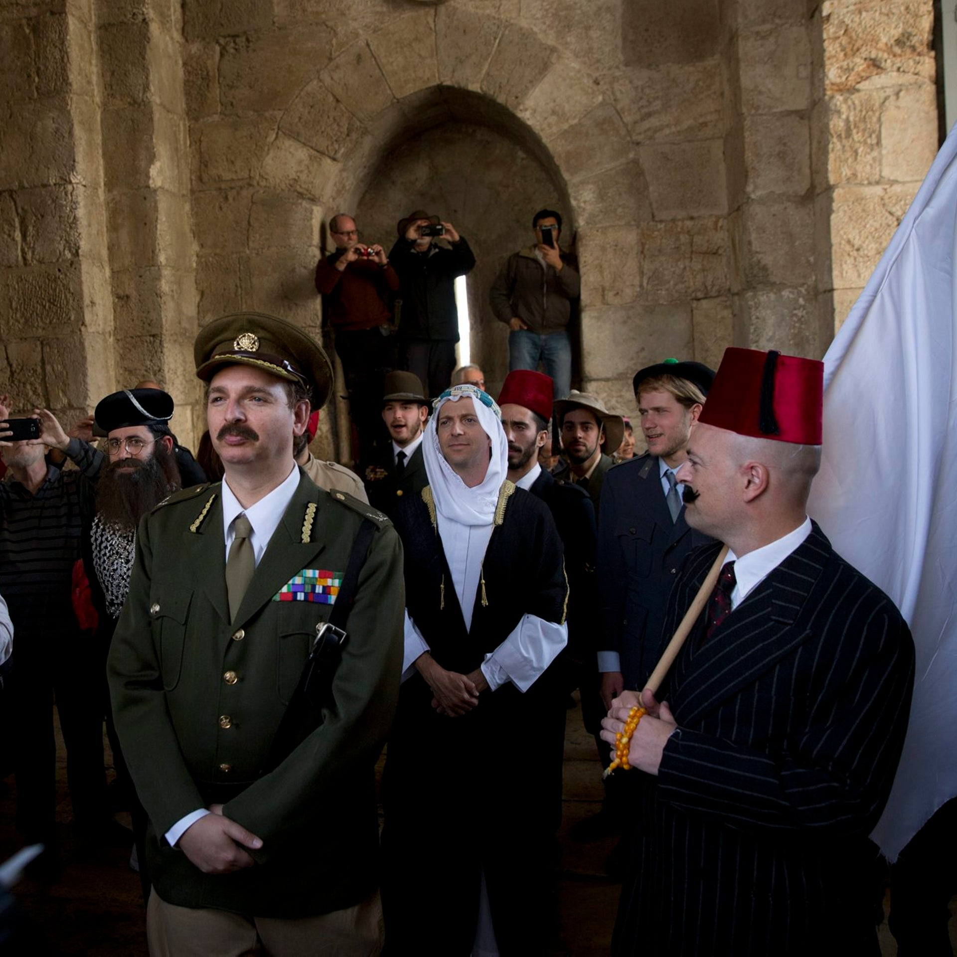 An actor dressed as General Edmund Allenby takes part in the reenactment of the general's entry to Jerusalem 100 years ago, December 11, 2017.