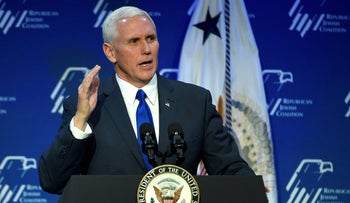 U.S. Vice President Mike Pence speaks during the Republican Jewish Coalition's annual leadership meeting in Las Vegas, Nevada, February 24, 2017.