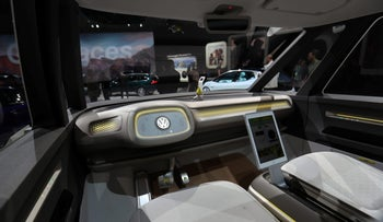 The interior of an autonomous Volkswagen I.D. Buzz concept vehicle is shown at the Los Angeles Auto Show in Los Angeles, California, U.S., November 30, 2017.