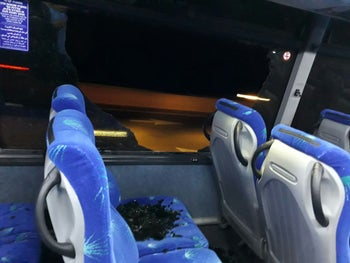 Bus window shattered by rock during Wadi Ara protest