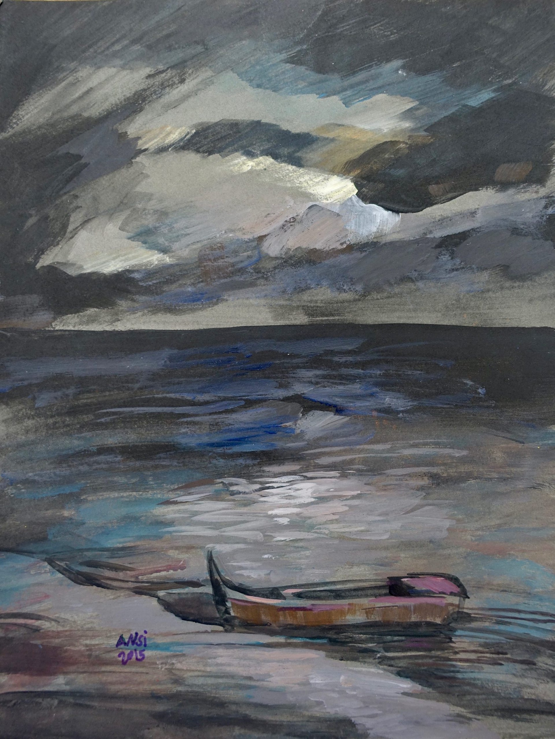 'Black Shore', a painting by Muhammad Ansi.