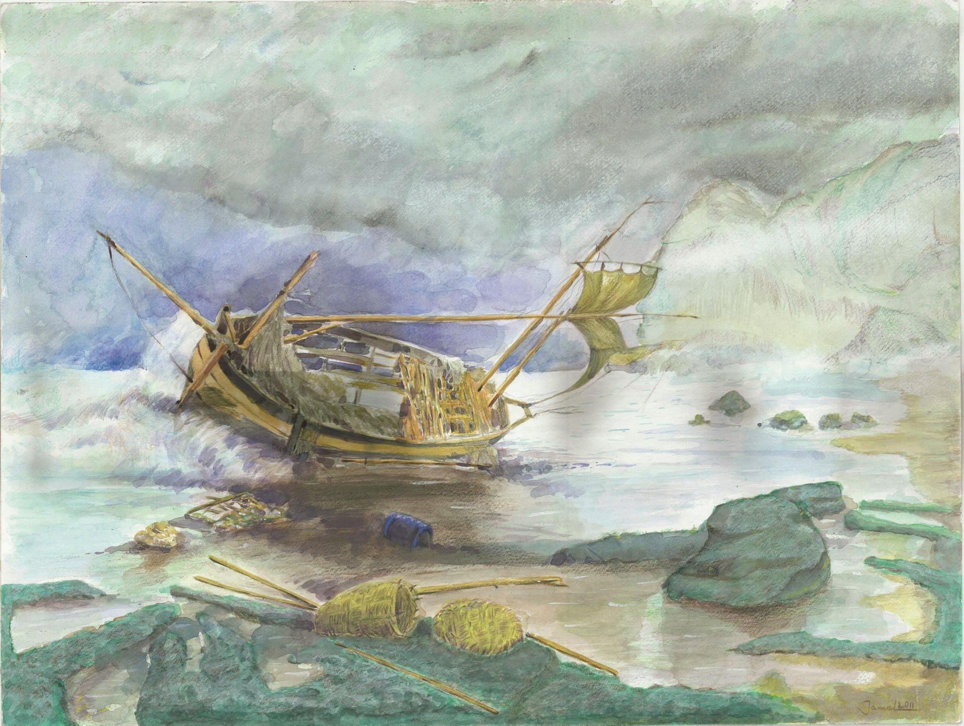 'Shipwrecked Boat', a painting by Djamel Ameziane.