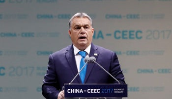Hungarian Prime Minister Viktor Orban attends the China-CEEC Economic and Trade Forum in Budapest, Hungary November 27, 2017.