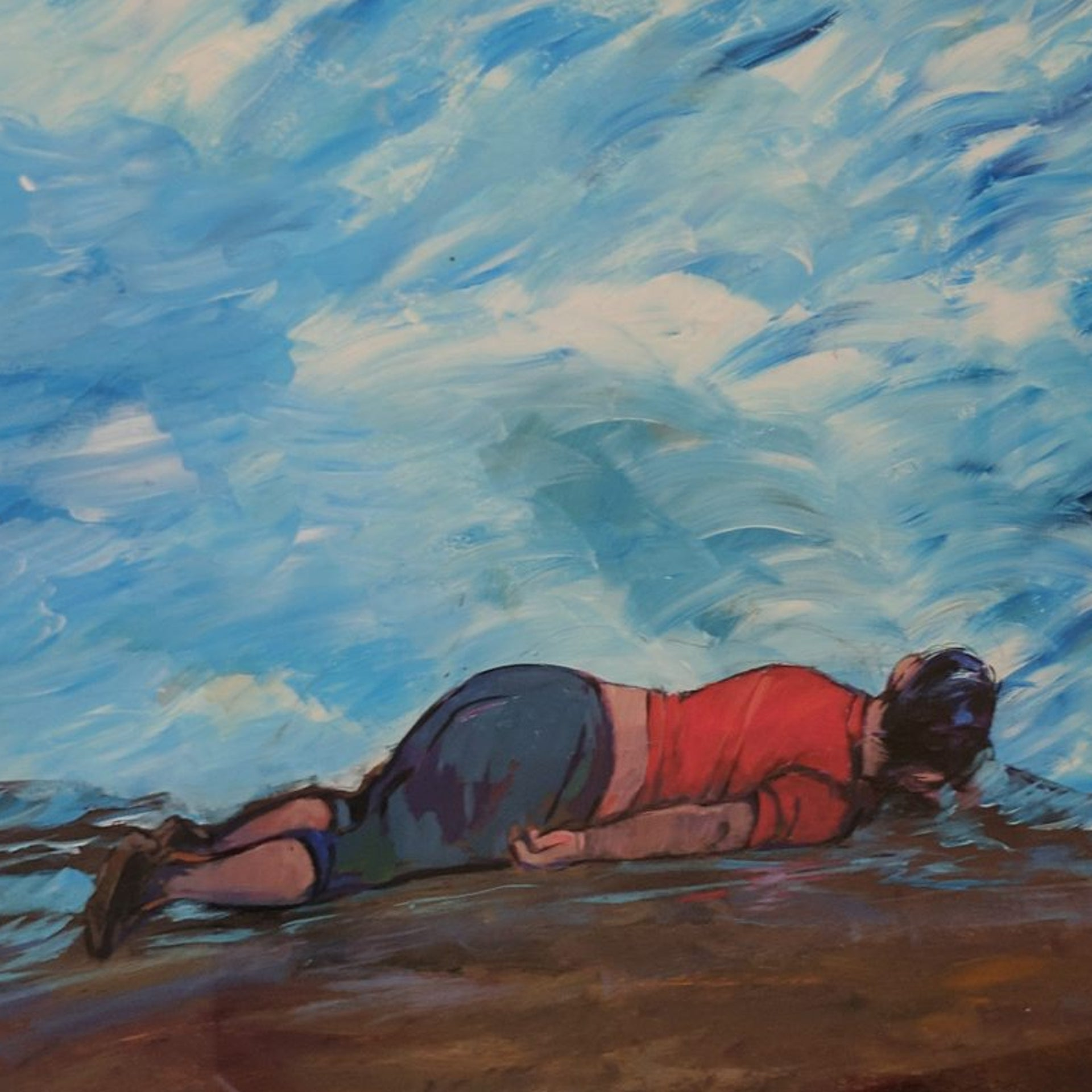 A painting shown as part of the 'Ode to the Sea: Art from Guantánamo Bay' exhibition in New York.