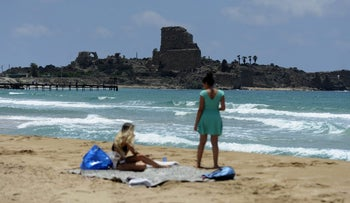 Tourists in Atlit.