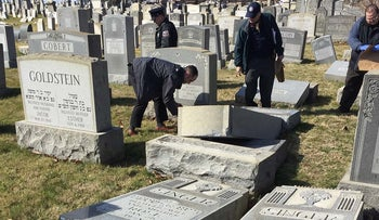 Headstones broken and toppled over at the Jewish Mount Carmel Cemetery in Philadelphia, February 26, 2016.