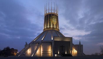 Liverpool Metropolitan Cathedral at dusk.