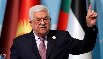 Palestinian President Mahmoud Abbas speaks during a news conference following the extraordinary meeting of the Organisation of Islamic Cooperation in Istanbul, Turkey, December 13, 2017.
