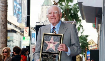 """FILE - In this Thursday, Nov. 12, 2009, file photo, Judge Joseph Wapner is honored with star on the Hollywood Walk of Fame in Los Angeles. Wapner, who presided over """"The People's Court"""" with steady force during the heyday of the reality courtroom show, has died. Wapner died at home in his sleep Sunday, Feb. 26, 2017, according to his son, David Wapner."""
