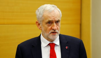 British Labour Party leader Jeremy Corbyn speaks during a news conference at the United Nations Office in Geneva, Switzerland on December 8, 2017.