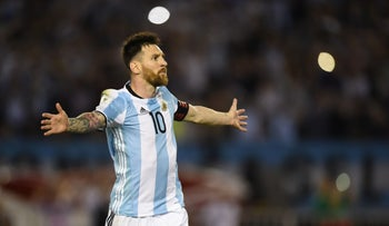 Lionel Messi playing in the 2018 FIFA World Cup qualifier, Mar. 24, 2017.