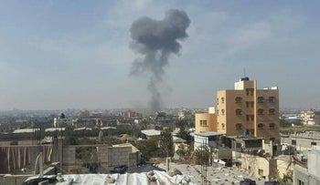 FILE PHOTO: Smoke rises after reported Israeli strikes in Gaza, February 27, 2017.