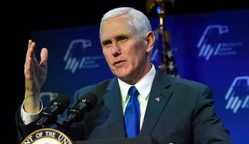 U.S. Vice President Mike Pence speaks during the Republican Jewish Coalition's annual leadership meeting at The Venetian Las Vegas on February 24, 2017 in Las Vegas, Nevada.